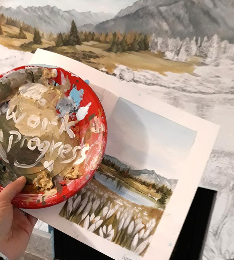 Dipinto raffigurante lago piztrì di Laura Poli